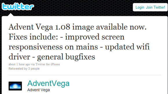 Advent Vega gets performance update, Flash still to come