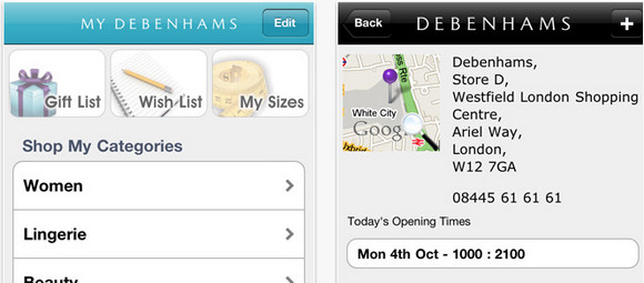 Debenhams offers iPhone and Android shopping apps with