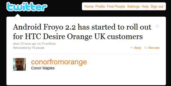 Orange HTC Desire Froyo update finally rolls out