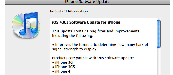 Apple iPhone 4.0.1 software update available for download