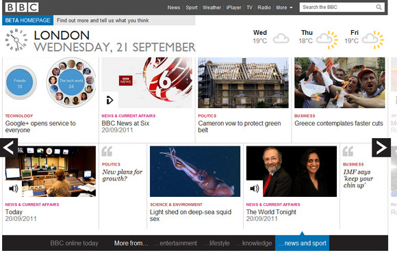 BBC website goes tablet app style with added swipability