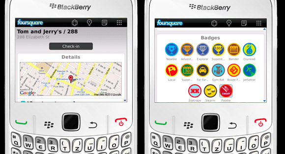 Foursquare for BlackBerry gets push notifications