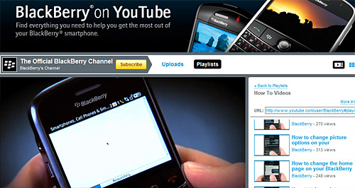 Blackberry launches YouTube video