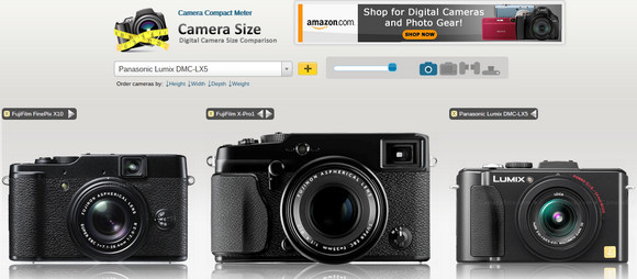 CameraSize lets you compare compact and dSLR camera sizes at a glance
