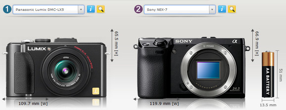 Compare camera sizes instantly with this useful website