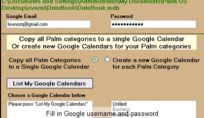 Transfer years of Palm data to Google Calendar with Dba2Csv and Palm2Google