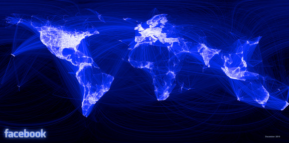 Facebook's global relationships visualised in natty map