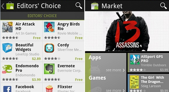 The most popular apps on Android: Market, Facebook and Google