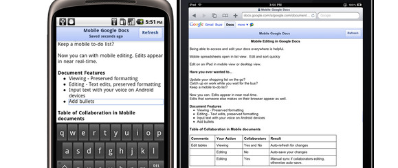 Google Docs editing added to Android, iPhone and iPad