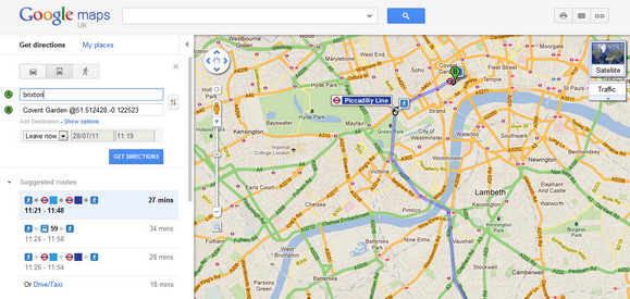 google maps adds london public transport directions