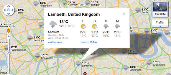 Google Maps adds weather info, rain-splattered Brits look around in envy