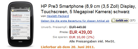 HP Pre 3 smartphone slides in for pre-order on Amazon.de at €449