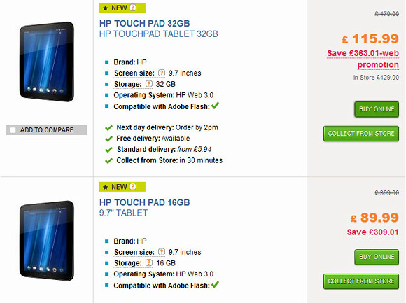 Stampede for a bargain as HP TouchPads go for £89.99 - get in quick!