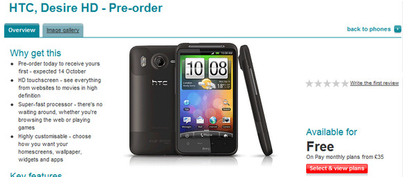 HTC Desire HD goes on pre-order in the UK - from free