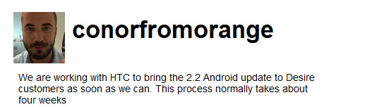 Orange HTC Desire Android 2.2 update 'coming in 4 weeks'