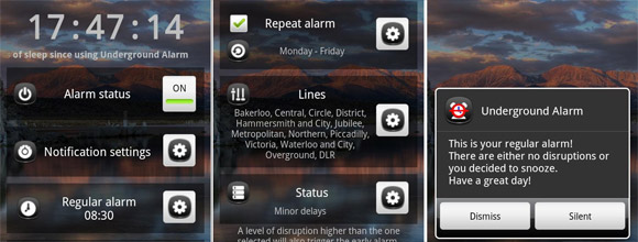 London Underground Alarm for Android wakes you up earlier if there's network delays