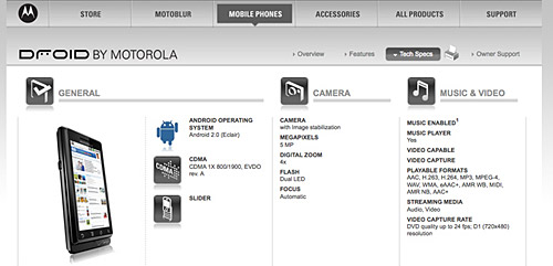 Motorola Droid: details and specs emerge