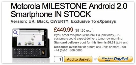 Motorola Droid coming to the UK as Milestone