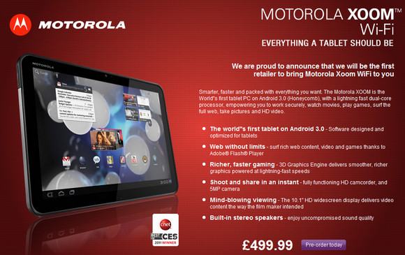 PC World cock up again, Motorola XOOM soars up to £500
