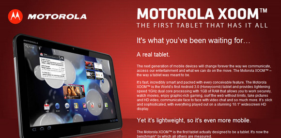 Motorola Xoom Android tablet goes on UK sale next week