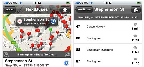 NextBuses iPhone app review - view real time UK bus info