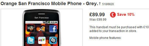 Orange San Francisco Android handset: yours for just £89.99 at Argos