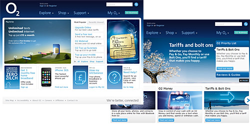 O2's website: spot the Palm Pre