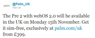 Palm Pre 2 gets UK release date confirmed