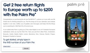Carphone offers free flights for Palm Pre buyers