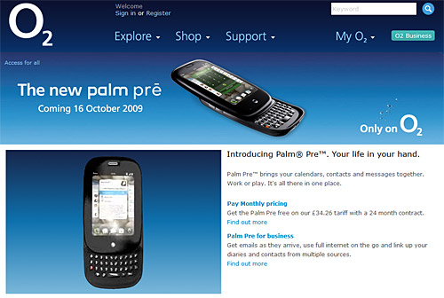 Palm Pre o2 release date for UK
