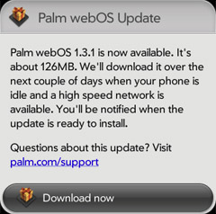 Palm Pre webOS 1.3.1 update arrives in Europe - full feature listing
