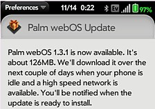 Palm webOS 1.3.1 update gets US release: Brits have to hold on