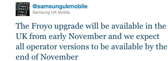 Samsung Galaxy Android 2.2 update delayed until November