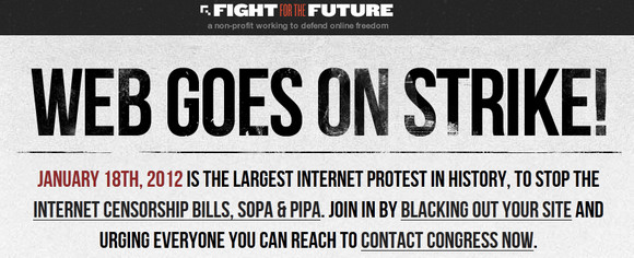 The largest internet protest in history sees sites go dark in protest at SOPA laws