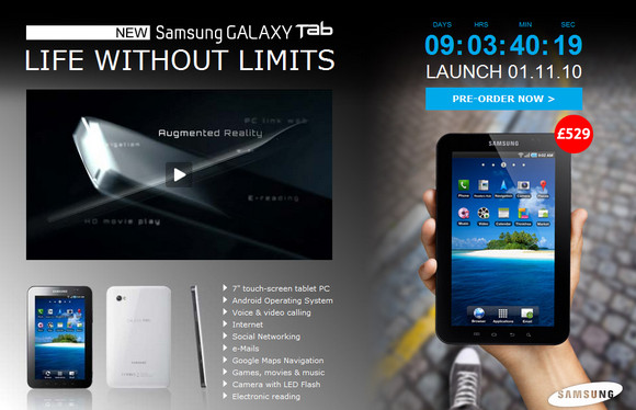 Tesco to sell the Samsung Galaxy Tab Android tablet