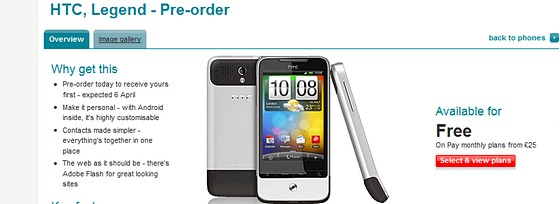 HTC Legend ready for your Vodafone pre-orders