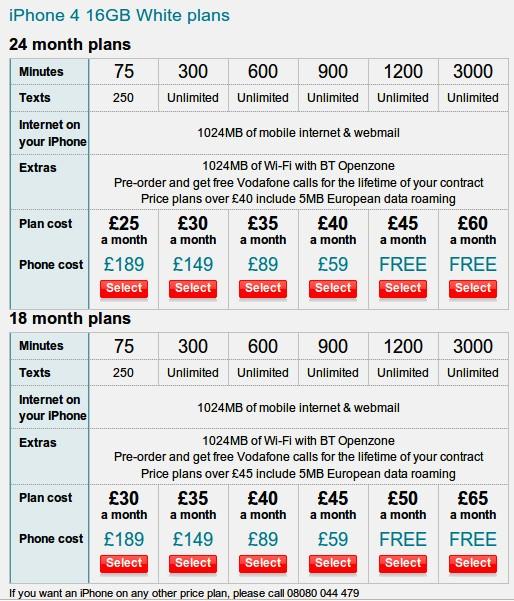 Vodafone iPhone 4 UK prices revealed