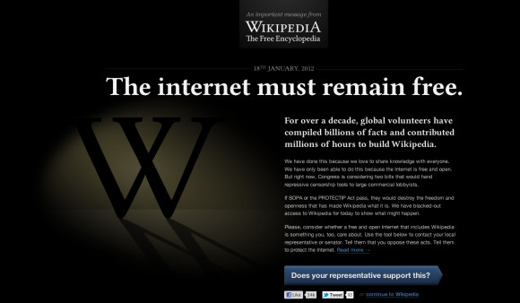 Protests against SOPA grow, as Wikipedia joins January 18th protest