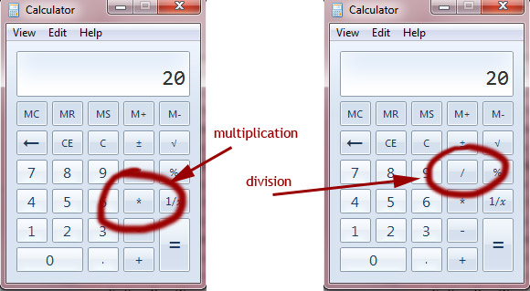 Where Are The Multiplication And Divide Symbols In Windows 7 Calculator
