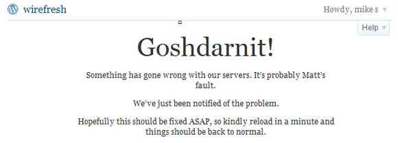Wordpress wobbles, reports server error, Matt to blame