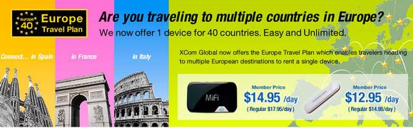 Xcom Global's $13/day Euro SIM grants unlimited data downloads across 40 European countries