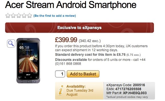 Acer Stream Android handset hits the UK