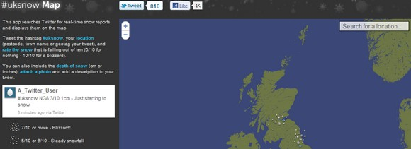 UK snowmap powered by Twitter
