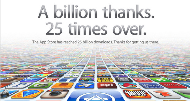 Apple stampedes through the 25 billion app download landmark