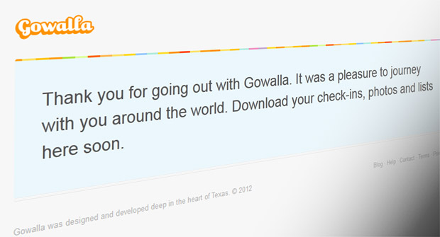 Say goodbye to Gowalla, as the service sees its final checkout