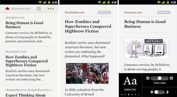 Readability for Android saves stripped down web pages for offline viewing