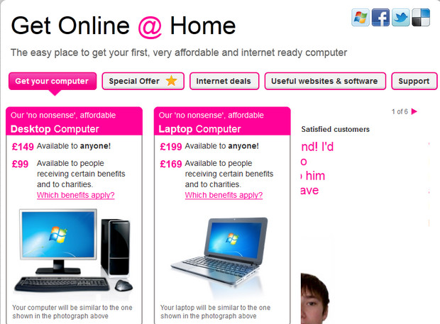 Go ON UK offers PC and year's broadband package from just £160, with deals for those on benefits