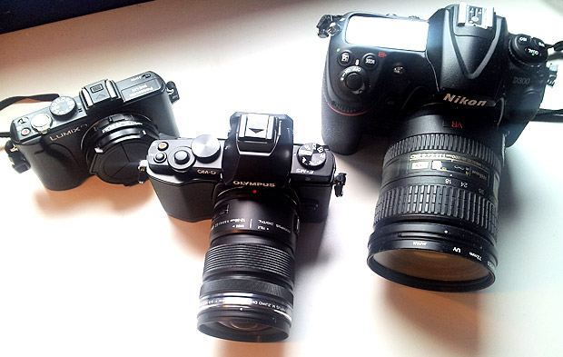 Olympus OM-D size comparison with Lumix LX5 and Nikon D300