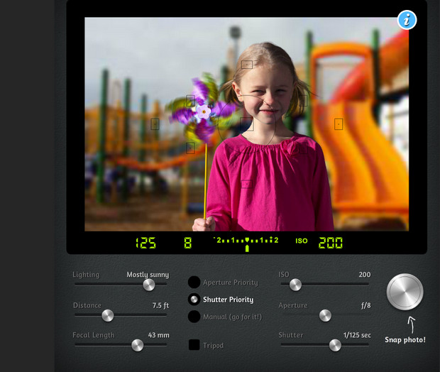 Learn photography basics with the excellent interactive DSLR Camera Simulator