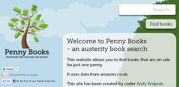 Austerity book search site Penny Books finds books priced at one penny